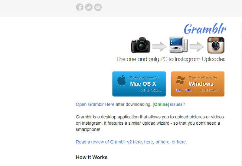 Официальный сайт Gramblr.